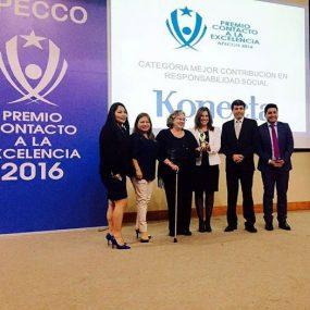 """premio Contacto a la Excelencia 2016, en la categoría """"Mejor Contribución en Responsabilidad Social"""""""