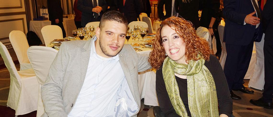 Ainhoa junto a un compañero en Madrid